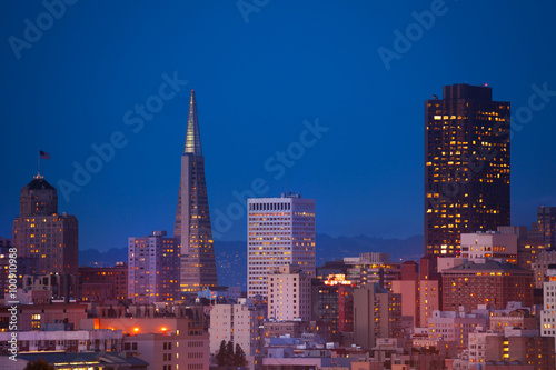 Evening view on San Francisco downtown Poster