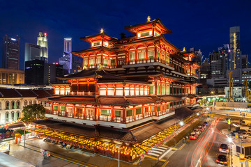 Night View of a Chinese Temple in Singapore Chinatown