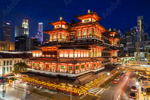 Night View of a Chinese Temple in Singapore Chinatown Poster