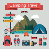 vector set of flat camping touristic icons - 100921145