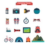 vector set of flat  touristic icons - 100921153