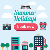 set of flat icons for city summer holidays - 100921164