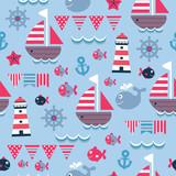 childish blue cartoon sea seamless pattern - 100921936