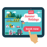 booking online concept for summer vacation with flat icons - 100921944