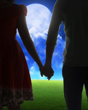 Young couple silhouette on a field