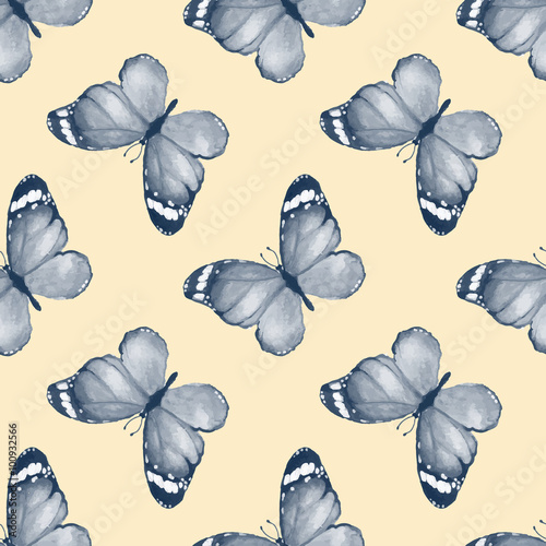 Butterfly. Seamless pattern in vector. Watercolor background 41