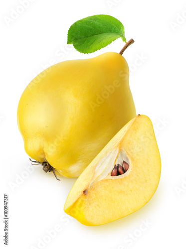 Isolated quince fruit