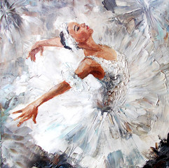 oil painting, girl ballerina. drawn cute ballerina dancing  © pavlogatilov