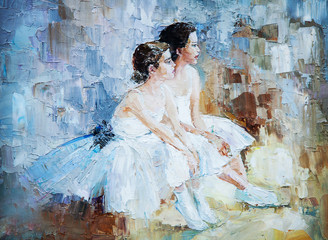oil painting, girl ballerina. drawn cute ballerina  © pavlogatilov