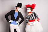 Two mimes man and  woman.The concept of Valentine