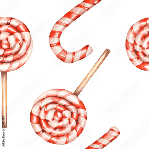 Materiał do szycia A seamless sweet pattern with the lollipop (candy cane). Painted in a watercolor hand-drawn on a white background