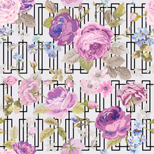 Spring Flowers Geometry Background - Seamless Floral Shabby Chic