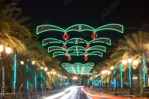 Street in Muscat decorated with lights Poster