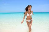 Cheerful Woman Running at Beach Summer Fun