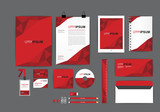 red corporate identity template  for your business includes CD Cover, Business Card, folder, ruler, Envelope and Letter Head Designs