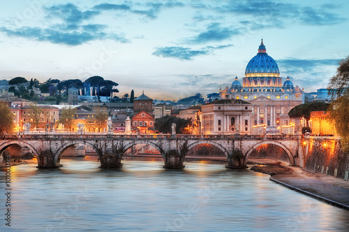 Poster Rome - Vatican city at night