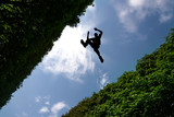 Man jumping over bushes - 101004988