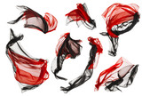 Fabric Cloth Flow and Waves, Folded Satin Fly Red Black on White