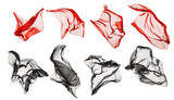 Fabric Cloth Flying, Flowing Waving Silk, Red Black on White