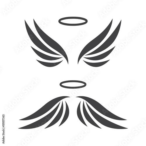 Vector sketch of angel wings