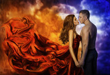 Couple in Love, Hot Fire Woman and Cold Man, Romantic Girl Kiss