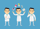Set of funny caricatures doctor in various poses. Collection gestures. Vitamins and antibiotics. Injection. The best medical health care. Funny vector flat simple illustration. - 101021316