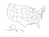 Fototapety Blank outline map of USA