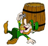 Leprechaun Drinking/ hand drawn cartoon of leprechaun drinking from the tap