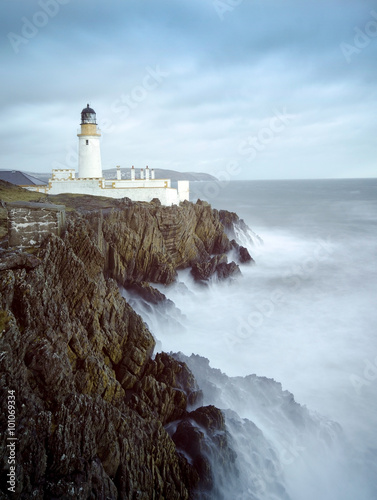 Long Exposure Storm Sea Lighthouse Cliffs - 101069334