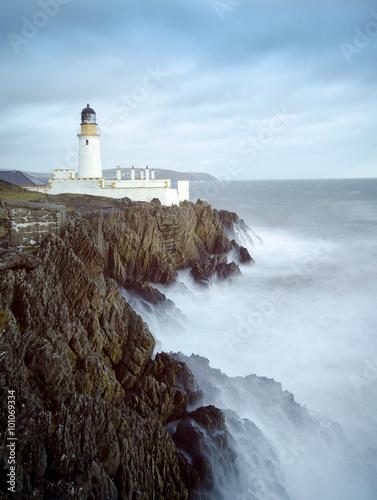 Long Exposure Storm Sea Lighthouse Cliffs - 101069334