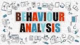 Fototapety Behaviour Analysis Concept. Multicolor on White Brickwall.