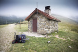 Izandorre shelter on a foggy day, Orreaga, Navarra, Spain