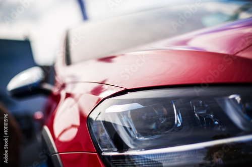Closeup headlights of new sport car