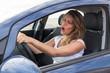 Leinwanddruck Bild - Frau singt im Auto