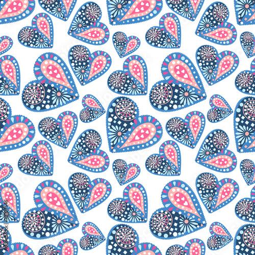 Materiał do szycia Wektor wzór. Tło z kolorowe serca dekoracyjne na niebieskim tle.