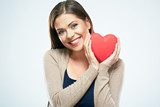 Beautiful woman hold red heart. Valentine day love concept.