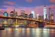 Manhattan skyscrapers and Brooklyn Bridge - beautiful gentle