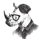 Hand drawn dressed up rhino in hipster style