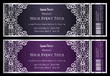 Luxury anthracit and plum theater ticket with vintage pattern - 101117774