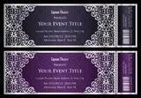Luxury anthracit and plum theater ticket with vintage pattern