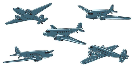 Vector cartoon image of a set of five blue old planes on a white background. Made in retro style. Vector illustration.