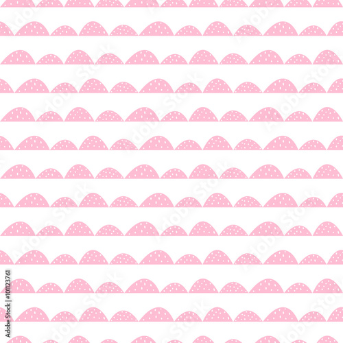Scandinavian seamless pink pattern in hand drawn style. Stylized hill rows. Wave simple pattern for fabric, textile and baby linen. - 101123761