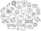 Cartoon baby set, black and white outline