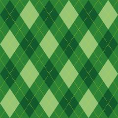 Argyle pattern green rhombus seamless texture, illustration