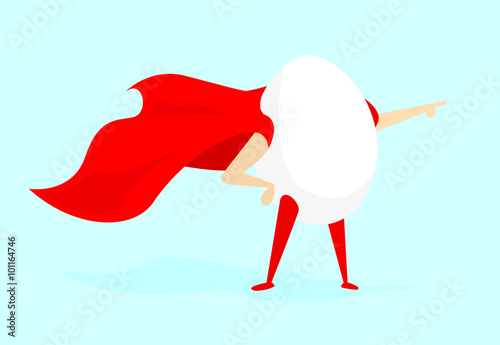 Egg super hero standing with cape
