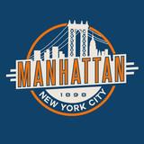vintage t-shirt sticker emblem design. Manhattan New York City and Manhattan Bridge and  skyline - 101176950