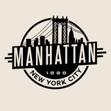 vintage t-shirt sticker emblem design. Manhattan New York City and Manhattan Bridge and  skyline - 101176970