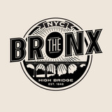 Fototapety vintage t-shirt sticker emblem design. The Bronx New York City lettering with historic High Bridge