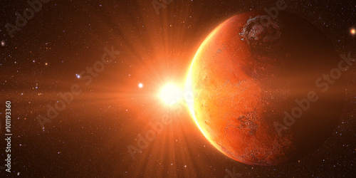 The Mars sunrise shot from space showing all they beauty. Extremely detailed image