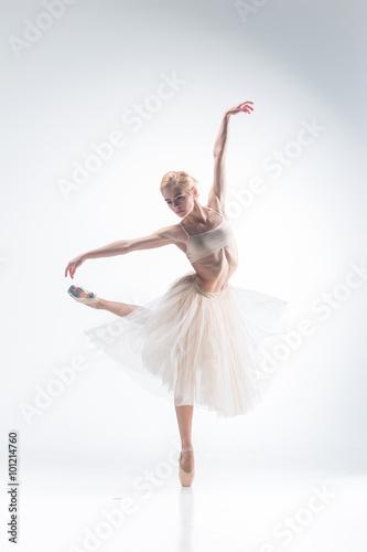 Naklejka The silhouette of ballerina on white background